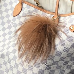 Mk fur ball bag charm keychain